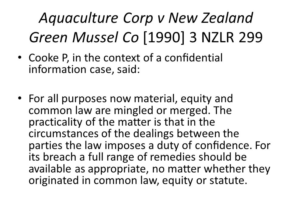 Aquaculture Corp v New Zealand Green Mussel Co [1990] 3 NZLR 299